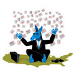 blue donkey democrat meditates to vote in vector image