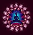 buddha silhouette in lotus position pink mandala vector image
