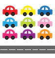 cartoon car set with dash line and horizontal vector image vector image