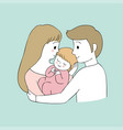 cartoon cute parents and baby vector image vector image