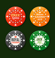 casino chips sign set vector image vector image
