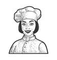 chef girl sketch vector image