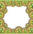 clover coins saint patrick day frame vector image