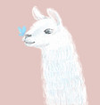 cute and fluffy llama hand drawn vector image