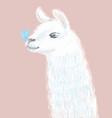 cute and fluffy llama hand drawn vector image vector image