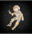cute cartoon asrtonaut girl floating in space vector image