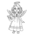 cute girl in angel costume outlined for coloring vector image vector image