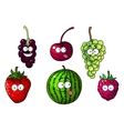 Cute happy colorful cartoon fruits and berries vector image vector image