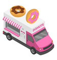 donuts truck icon isometric style vector image vector image