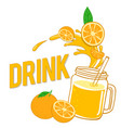 drink fresh orange and glass with juice ima vector image vector image