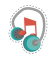 earphones music note dotted line vector image vector image