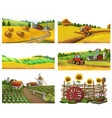 farm rural landscape set vector image