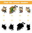 find correct shadow game for children set of vector image vector image