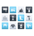 fire-brigade and fireman equipment icons vector image