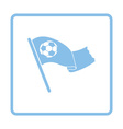 Football fans waving flag with soccer ball icon vector image vector image