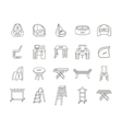 Furniture flat line icons collection vector image vector image