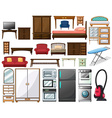 Furnitures and electronic equipments vector image