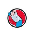 Golfer Swinging Club Circle Cartoon vector image vector image
