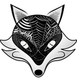 Graphic black and white fox vector image
