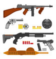 guns flat set machine gun thompson rifle revolver vector image vector image