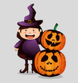 happy halloween card with little witch vector image