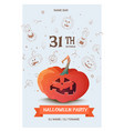 happy halloween greeting card with pumpkin vector image vector image