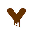 letter y chocolate font sweetness alphabet liquid vector image vector image