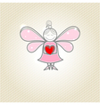 Little fairy with heart in hands vector image