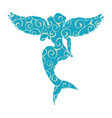 mermaid siren pattern silhouette ancient mythology vector image