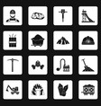 miner icons set squares vector image vector image