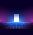 neon background in 80s style laser grid vector image