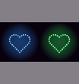 neon dot heart in blue and green color vector image vector image