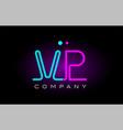 neon lights alphabet vp v p letter logo icon vector image vector image