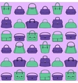 Pattern of colorful handbags on purple background vector image vector image