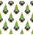 pug in christmas tree costume seamless pattern vector image vector image