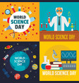 science day banner set flat style vector image vector image
