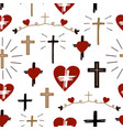 seamless christian colorful pattern with crosses vector image