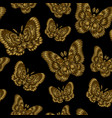 seamless pattern with gold butteflies on black vector image vector image