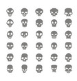 set of monochrome icons with skulls vector image vector image