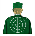 Soldier with target from back or rear view vector image vector image