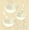 Spaghetti or noodle card vector image vector image