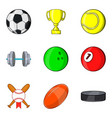 sports ball icons set cartoon style vector image vector image