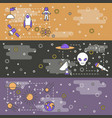 thin line art space web banner template set vector image