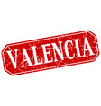 valencia red square grunge retro style sign vector image vector image