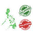 welcome collage of map of philippines and vector image