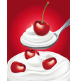 yogurt cream with sweet fresh cherry vector image