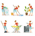 housewife make different domestic works mother vector image