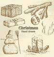 Hand drawn christmas set vector image