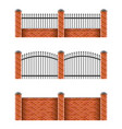 brick fences set isolated on white vector image