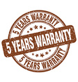 5 years warranty brown grunge round vintage rubber vector image vector image